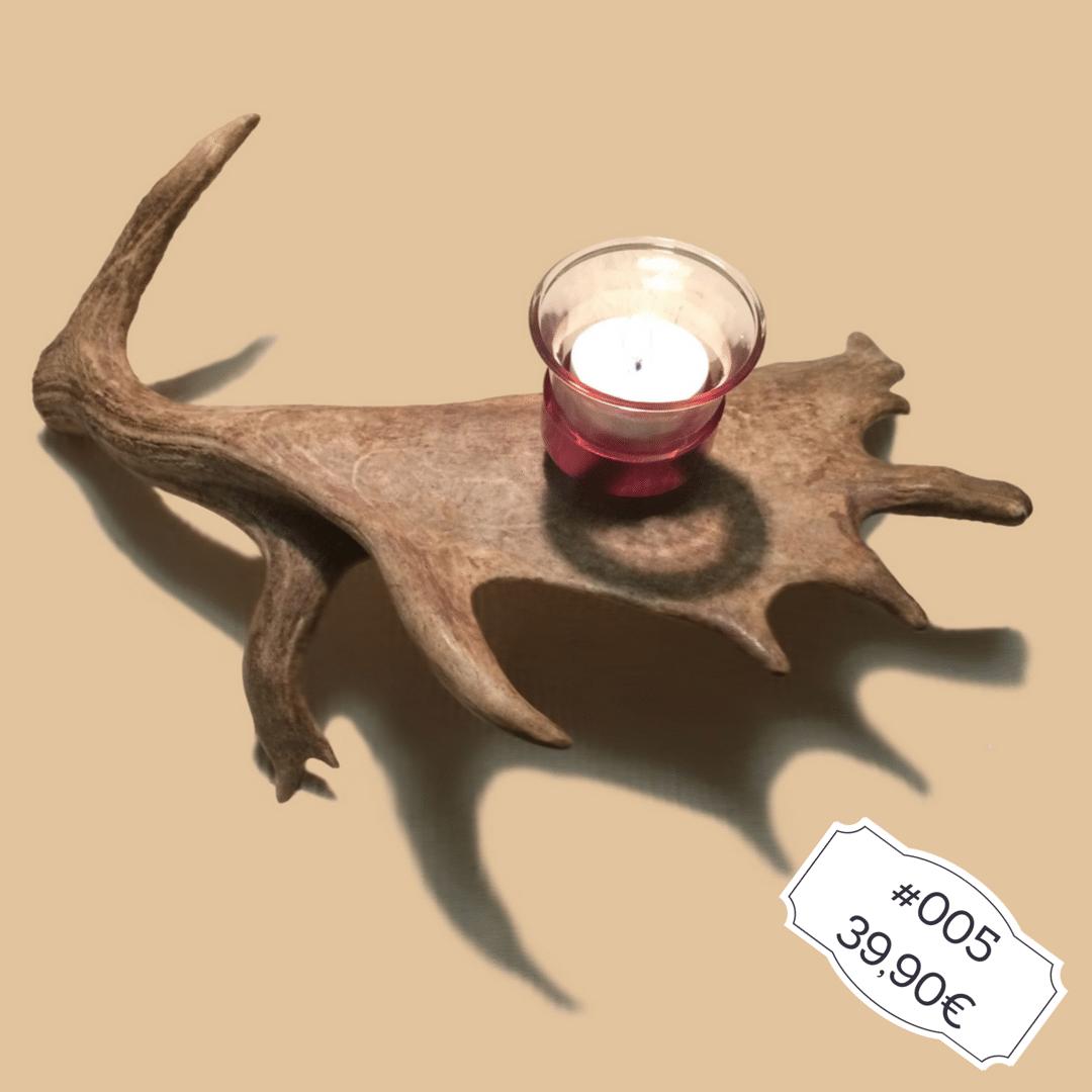 Hirschgeweih Deko Teelichthalter aus Damwild