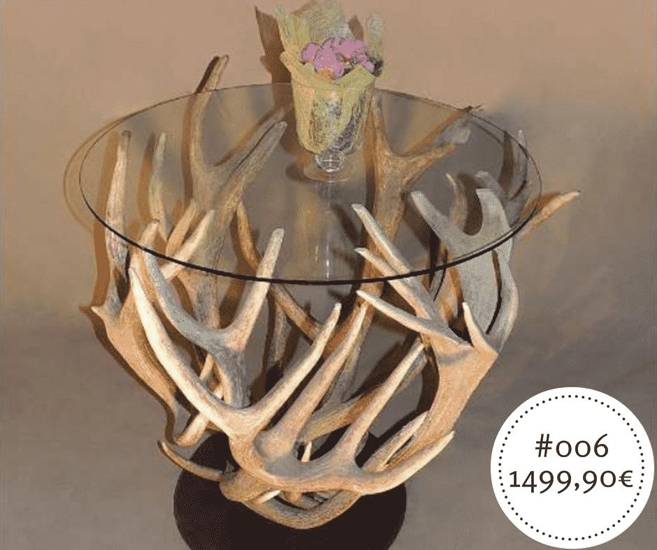 Hirschgeweih designer Couchtisch rund mit Sicherheitsglas