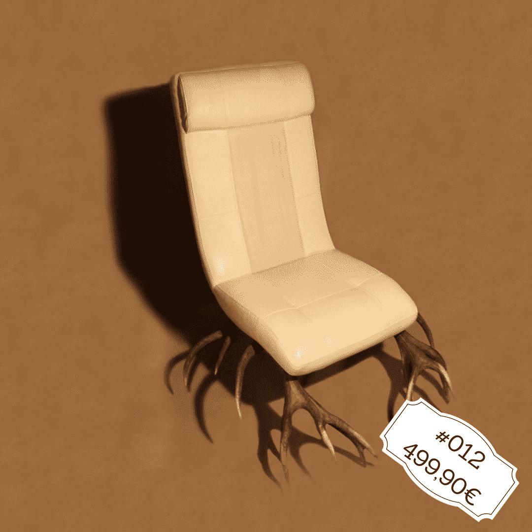 Hirschgeweih Sessel mit weißem Leder, Geweihmöbel der besonderen Art
