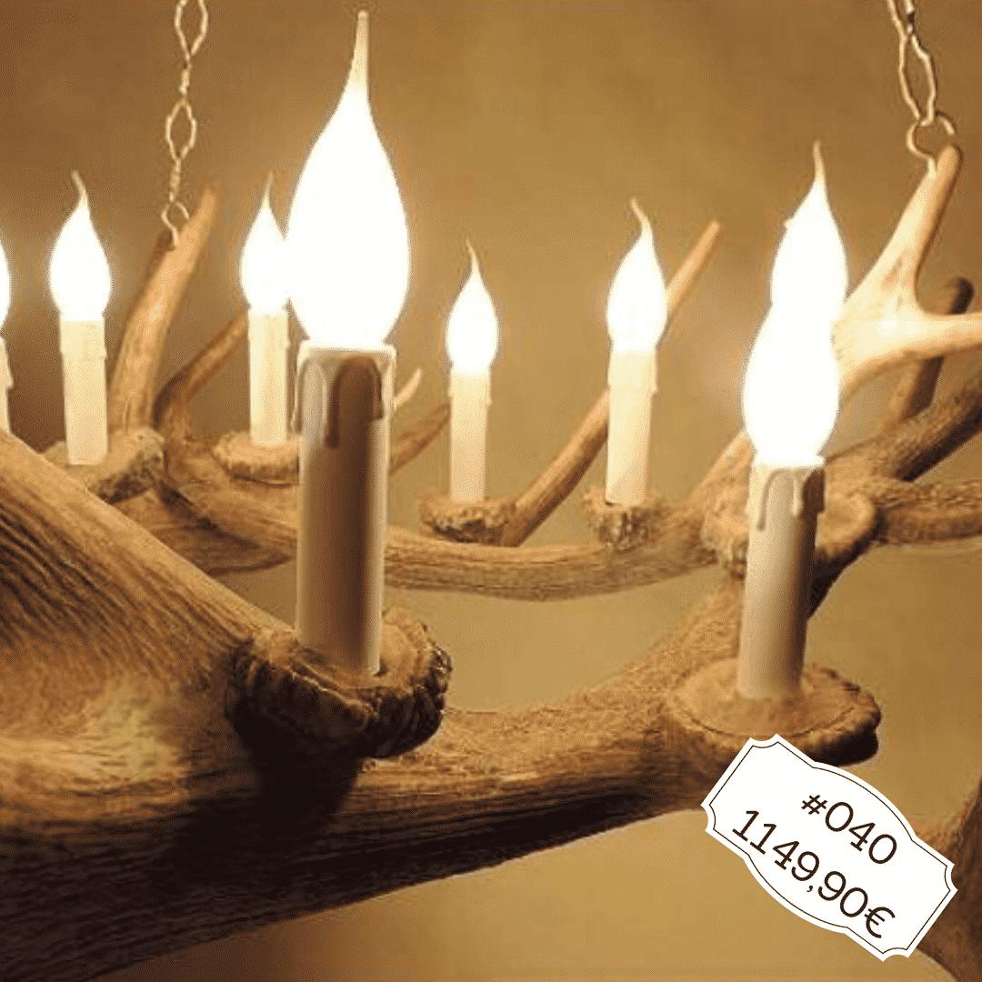 Hirschgeweih Kronleuchter aus drei Rothirschabwurfstangen, Geweihmöbel, Geweihlampe
