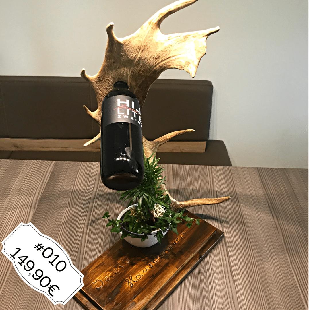 Geweihmöbel, Geweihdeko, Hirschgeweihdeko, Weinhalter, Weinflaschenhalter, Geburtstagsgeschenk für Jäger, Personalisiertes Geschenk