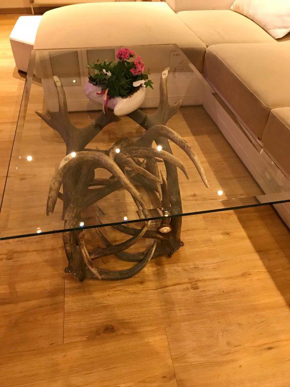 Landhaus Couchtisch mit ESG Glasplatte