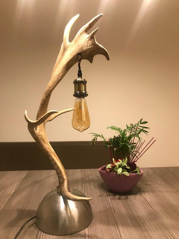 Geweih Stehlampe Damhirsch moder für Ihre Jagdhütte