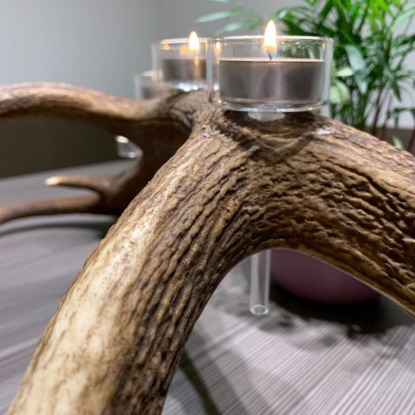Hirschgeweih Deko Kerzenhalter mit vier Teelichtern, johannes forkl, oh my deer, glas Teelichthalter